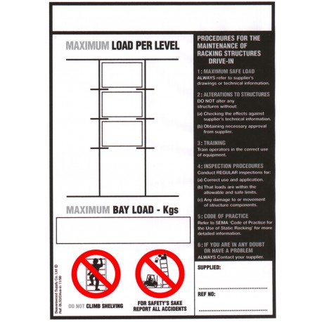 Drive-In Racking Load Notice
